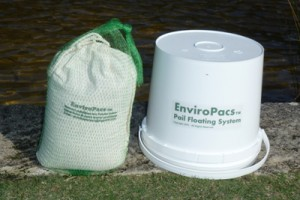 Large Enviropacs TM may be floated or placed on the bottom near incoming water flows